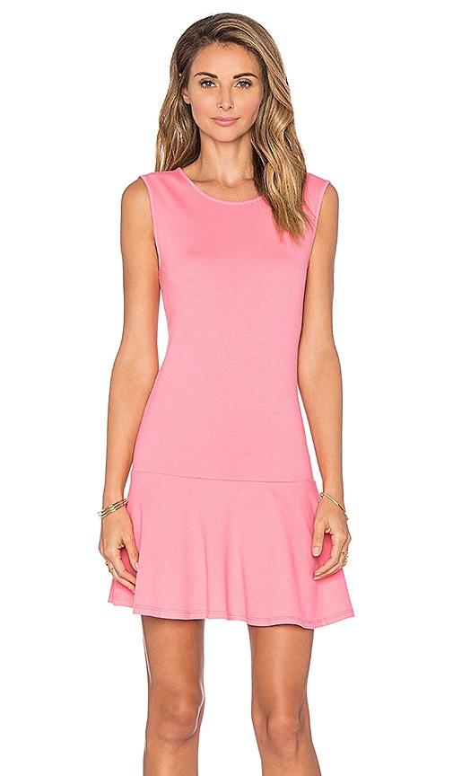 Bobi Lightweight Cashmere Terry Dropwaist Dress in Juicy Pink