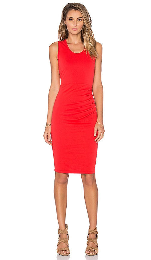 Bobi Lightweight Cashmere Terry Shirred Midi Tank Dress in Retro Red