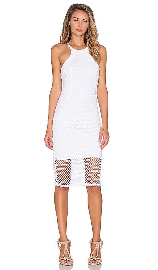 Bobi Pima Cotton High Neck Midi Dress in White