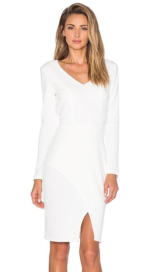 Bobi BLACK Knit Boucle V-Neck Long Sleeve Midi Dress in White