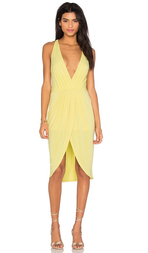 Bobi BLACK Liquid Jersey V Neck Slit Mini Dress in Yellow