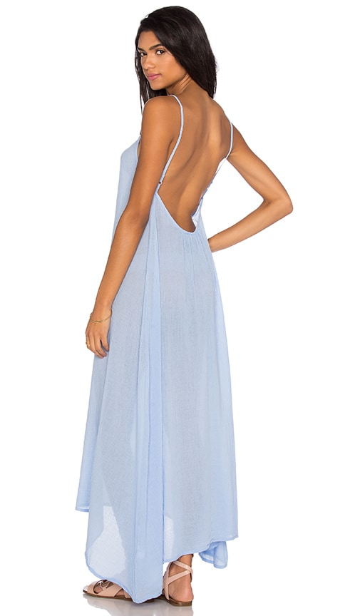 Bobi Gauze Sleeveless Scoop Back Maxi Dress in Blue