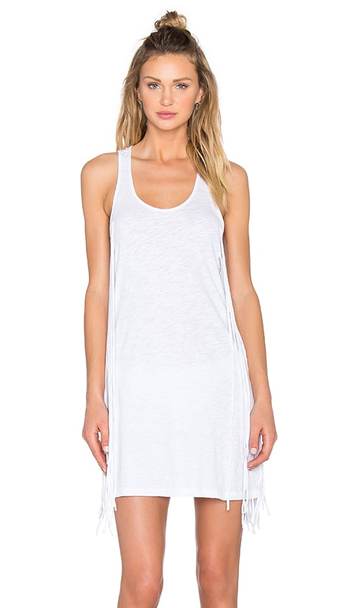 Bobi Slubbed Jersey Scoop Neck Fringe Tank Dress in White