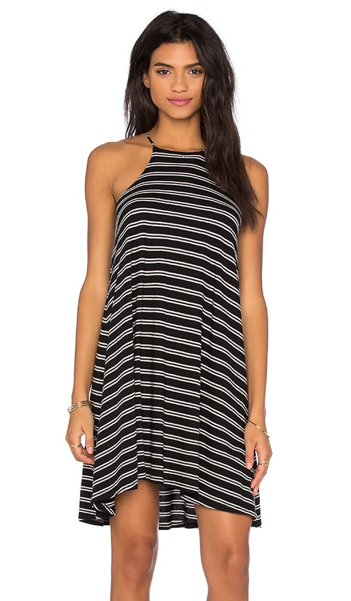 Bobi Double Stripe Jersey Tank Mini Dress in Black & White