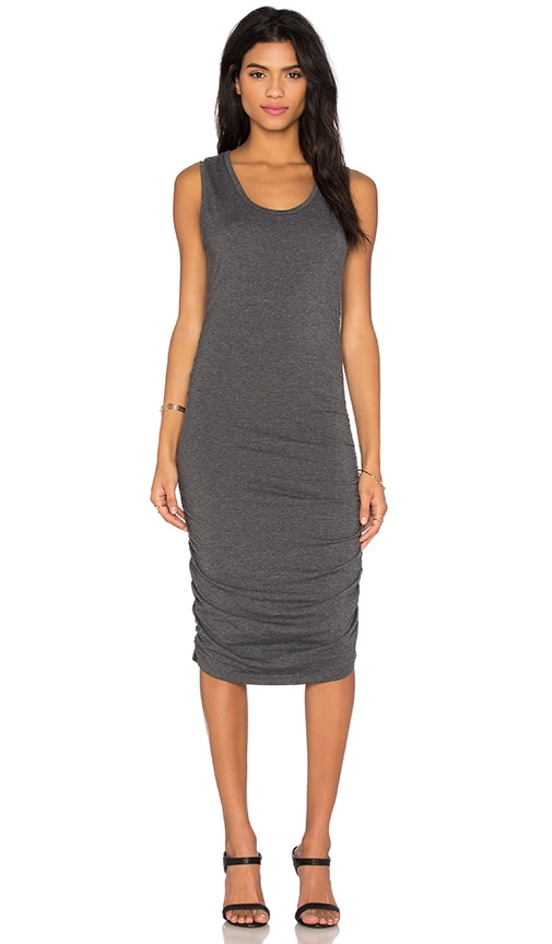 Bobi Relaxed Dress Jersey Sleeveless Scoop Neck Mini Dress in Dark Grey
