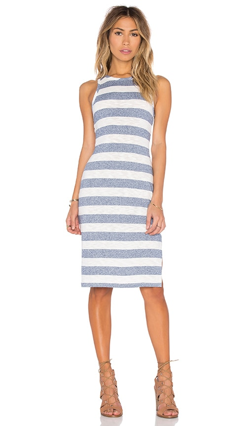 Bobi Slub Stripe Scoop Neck Tank Mini Dress in Blue