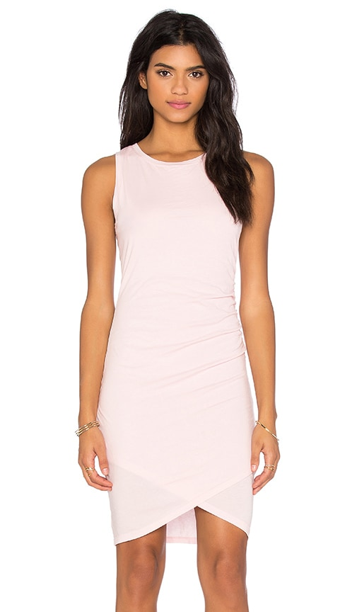 Bobi Supreme Jersey Cross Bottom Sleeveless Mini Dress in Pink