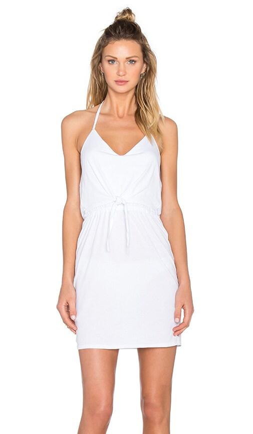 Bobi Supreme Jersey Tied Waist V Neck Dress in White