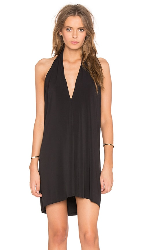 Bobi BLACK Liquid Jersey V Neck Halter Mini Dress in Black