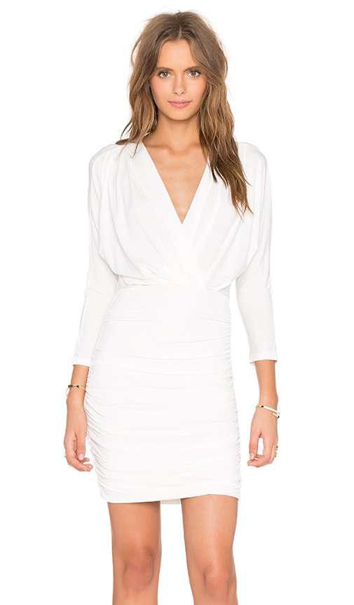 Bobi BLACK Liquid Jersey V Neck Long Sleeve Mini Dress in White