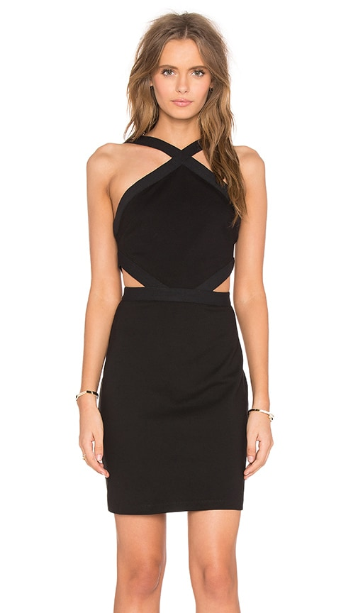 Bobi BLACK Double Knit Sleeveless Cutout Mini Dress in Black