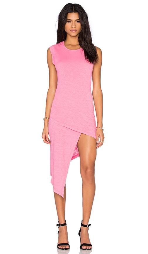 Bobi Cotton Slub Sleeveless Asymmetrical Mini Dress in Sweetie Pink
