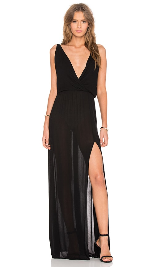 Bobi Rayon Gauze V Neck Sleeveless Maxi Dress in Black