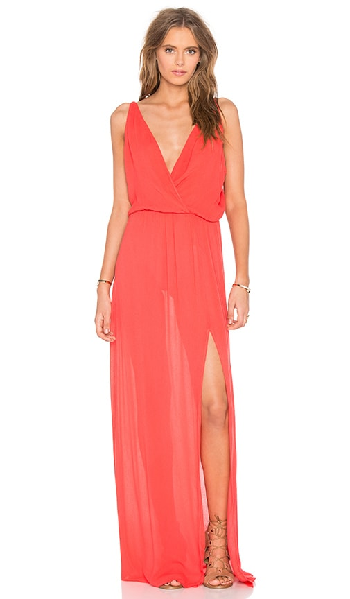 Bobi Rayon Gauze V Neck Sleeveless Maxi Dress in Red