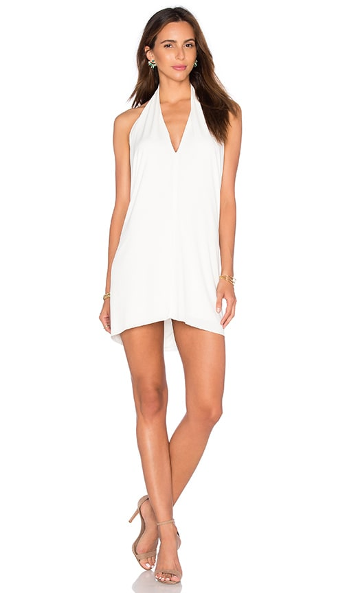 Bobi BLACK Liquid Jersey V Neck Mini Dress in White
