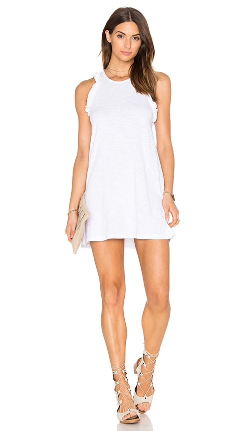 Bobi Slubbed Jersey Ruffle Sleeve Scoop Neck Tank Dress in White