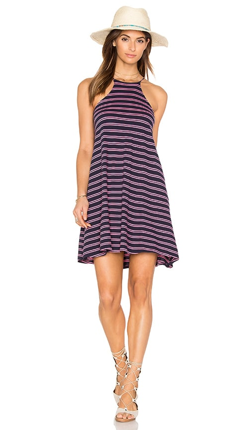 Bobi Double Stripe Jersey Tank Mini Dress in Navy