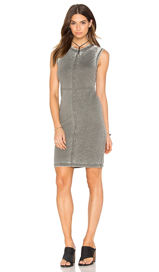 Bobi Burnout Pilled Terry Crew Neck Tank Dress in Green