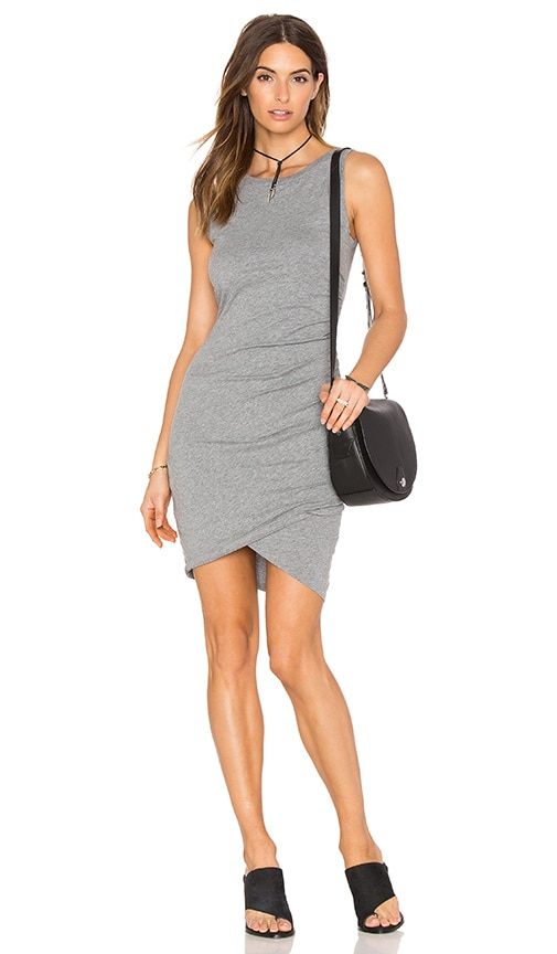 Bobi Supreme Jersey Cross Bottom Sleeveless Mini Dress in Thunder