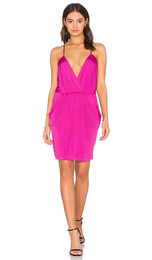 Bobi BLACK Luxe Liquid Jersey V Neck Bodycon Dress in Fuschia