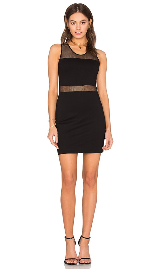 Bobi BLACK Double Knit Mesh Bodycon Dress in Black