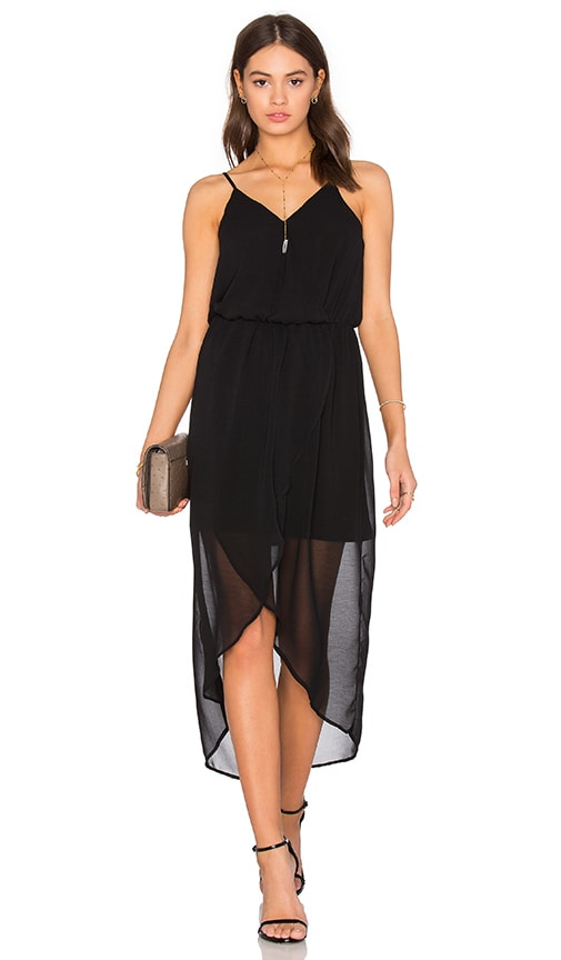 Bobi BLACK Mixed Chiffon Wrap Dress in Black