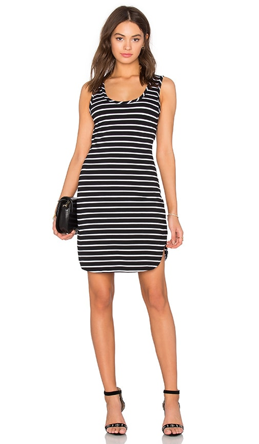 Bobi Cashmere Terry Stripe Midi Tank Dress in Black