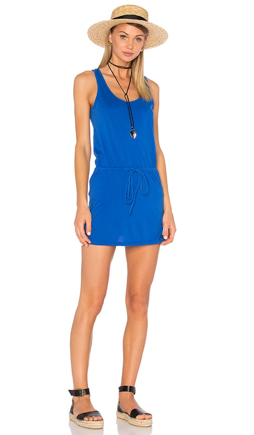 Bobi Supreme Jersey Tie Front Tank Dress in Blue