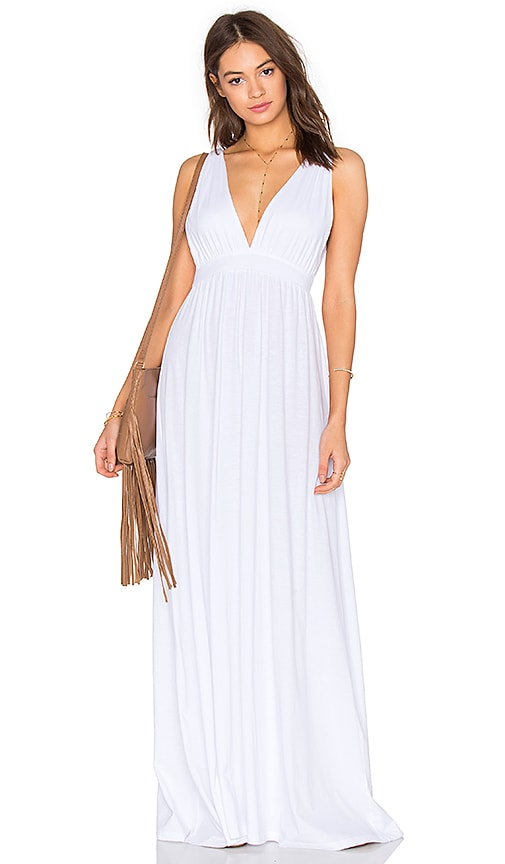 Bobi Supreme Jersey Maxi Tank Dress in White