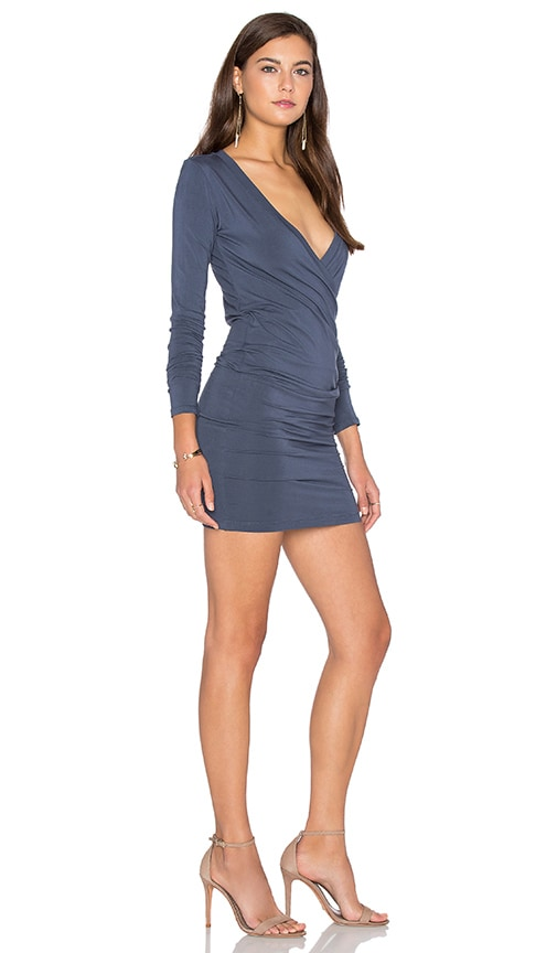 Bobi Jersey Long Sleeve Cross Front Mini Dress in Slate