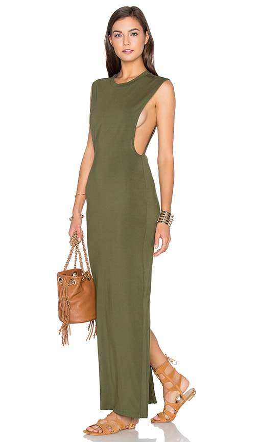 Bobi Jersey Sleeveless Back Slit Maxi Dress in Green