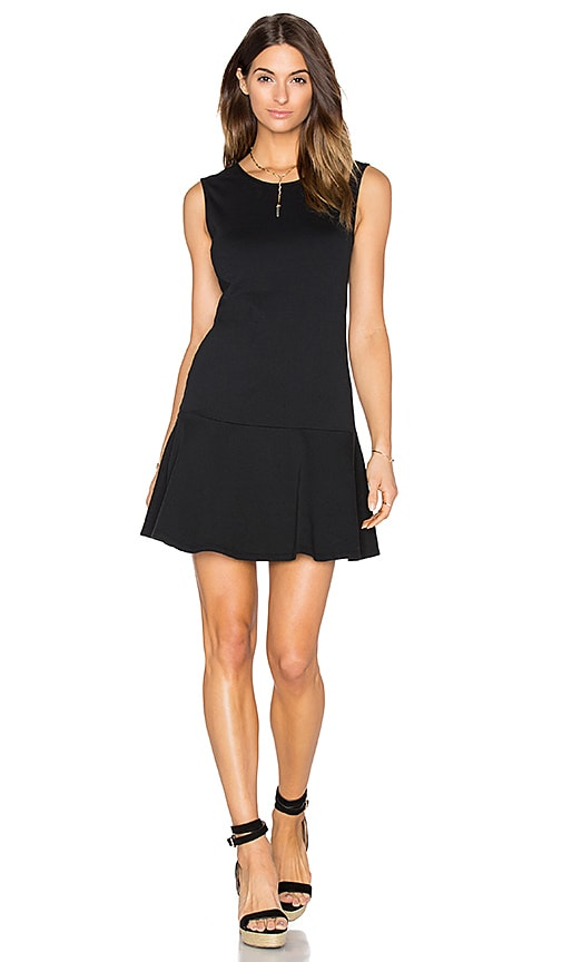 Bobi Light Weight Cashmere Terry Fit & Flare Dress in Black