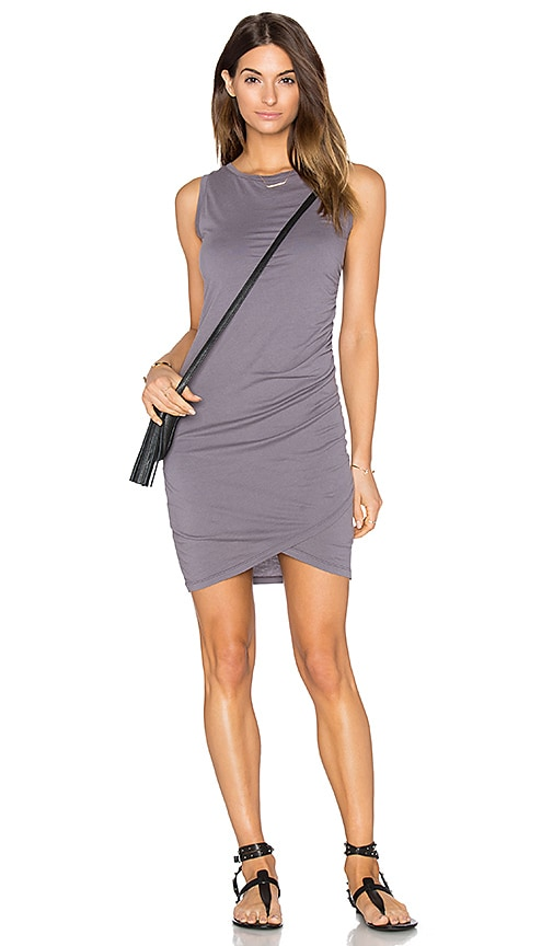 Bobi Supreme Jersey Ruched Bodycon Dress in Gray