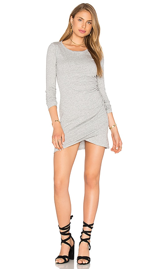 Bobi Supreme Jersey Long Sleeve Ruched Mini Dress in Gray