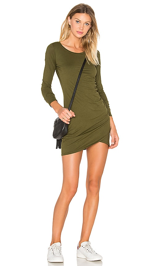 Bobi Supreme Jersey Long Sleeve Ruched Mini Dress in Green
