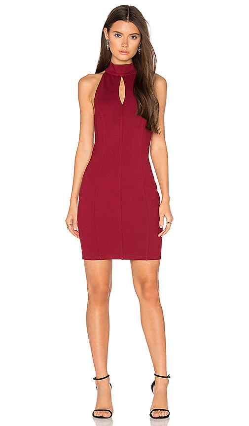 Bobi BLACK Cut Out Bodycon Dress in Red