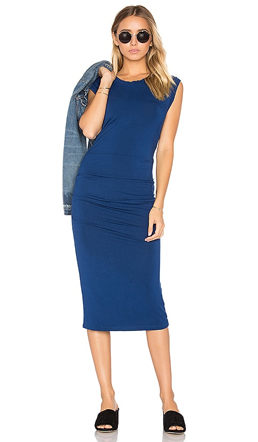 Bobi Jersey Bodycon Dress in Blue