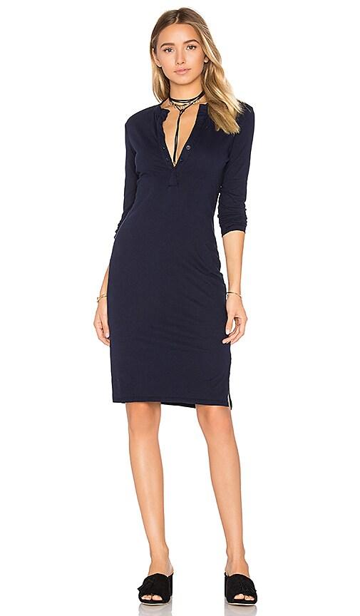 Bobi Long Sleeve Button Front Dress in Blue