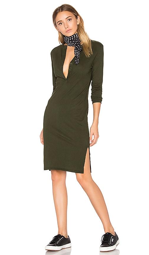 Bobi Long Sleeve Button Front Dress in Green