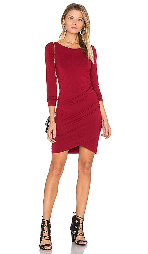 Bobi Jersey Ruched Dress in Red