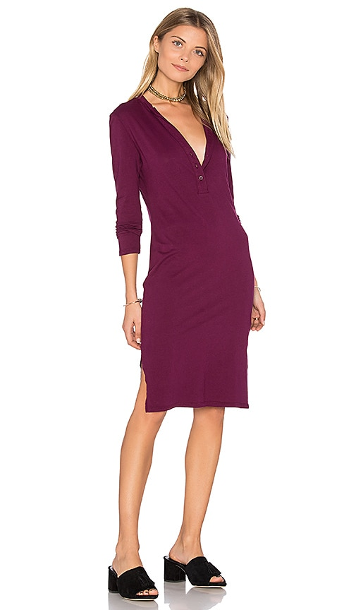 Bobi Long Sleeve Button Front Dress in Red
