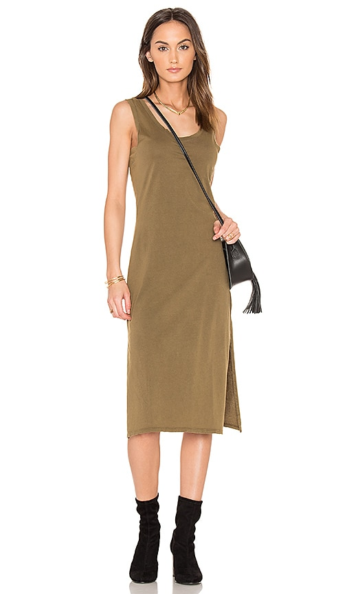 Bobi Distressed Jersey Tank Dress in Green