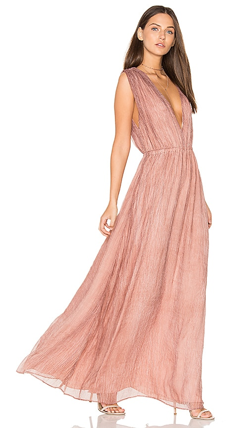 Bobi BLACK V Neck Maxi Dress in Blush