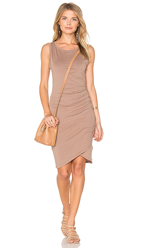 Bobi Supreme Jersey Ruched Bodycon Dress in Beige