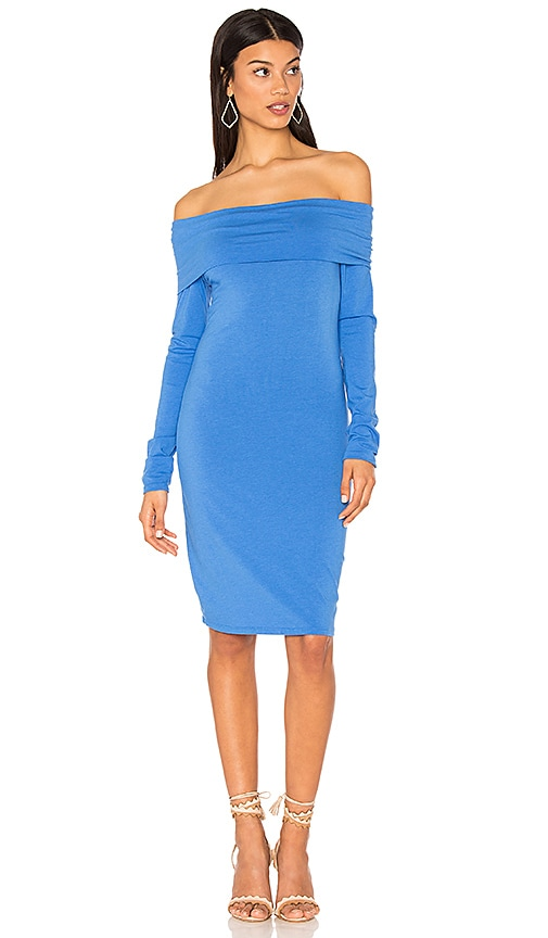 Bobi Modal Jersey Off Shoulder Mini Dress in Blue