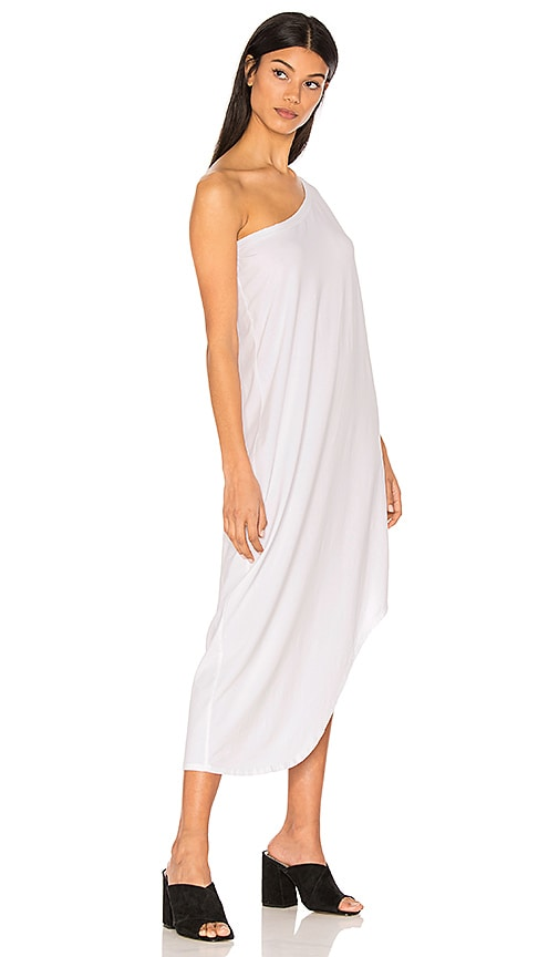 Bobi Modal Jersey One Shoulder Maxi Dress in White