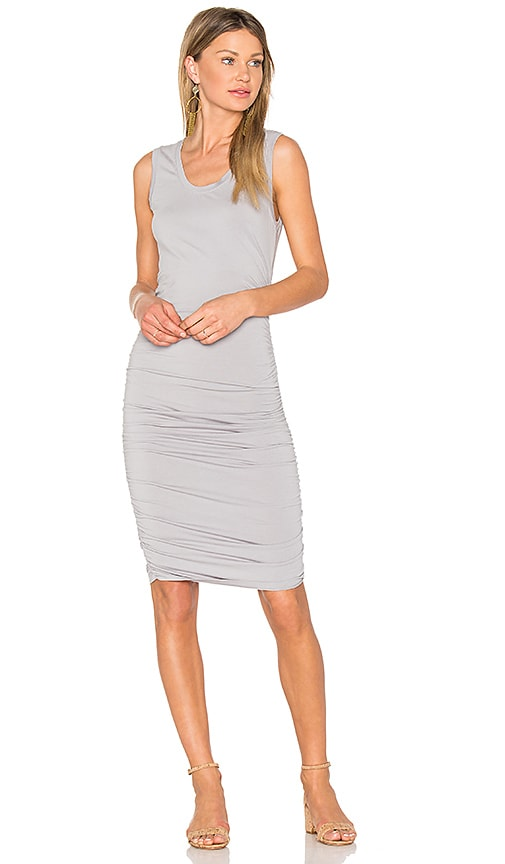 Bobi Modal Jersey Ruched Mini Dress in Gray