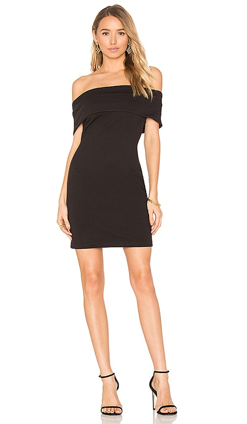 Bobi BLACK Boucle Off Shoulder Mini Dress in Black