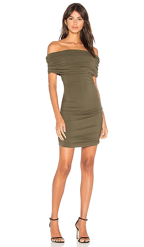 Bobi BLACK Off Shoulder Mini Dress in Green