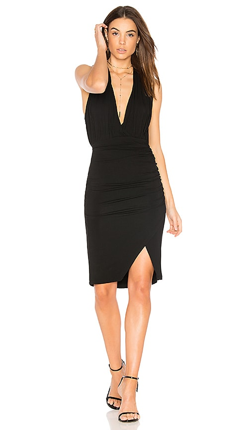 Bobi Deep V Mini Dress in Black